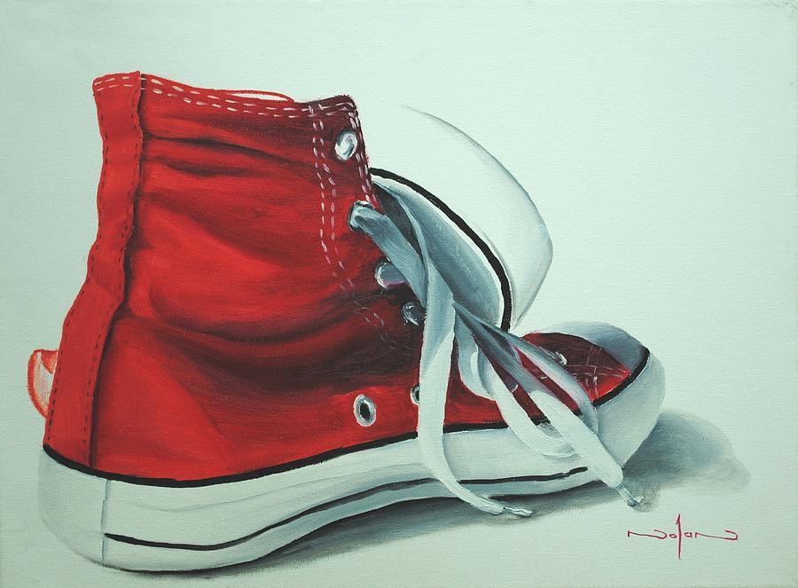 Oil Painting - Red Sneakers by Nolan Clark