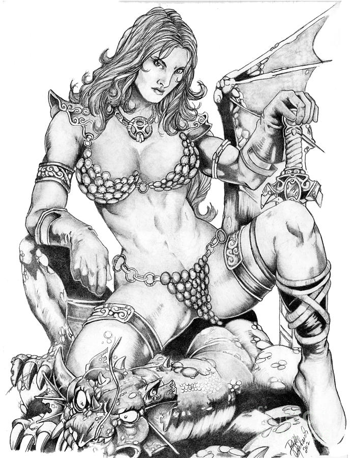 Red Drawing - Red Sonja by Bill Richards