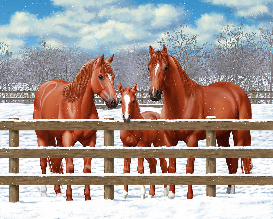 Horses Painting - Red Sorrel Quarter Horses In Snow by Crista Forest