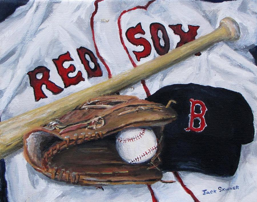 Red Sox Painting - Red Sox Number Six by Jack Skinner