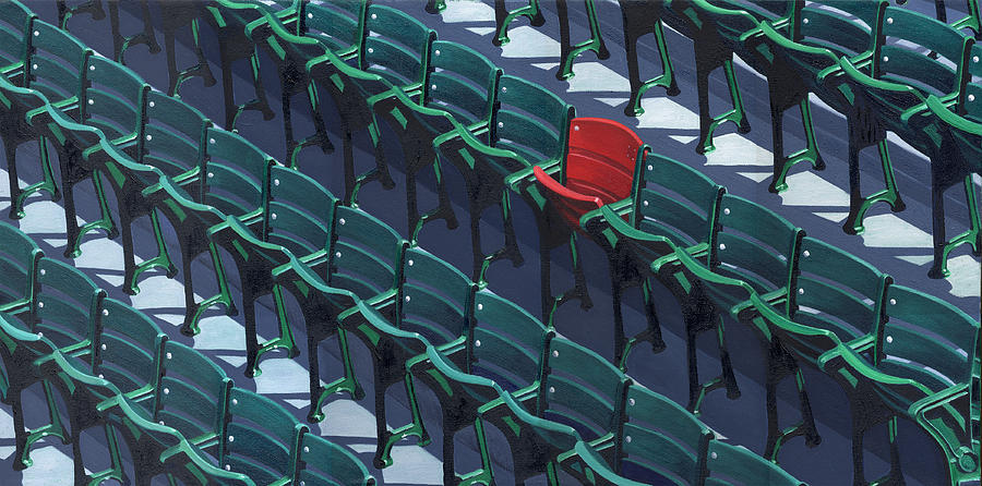Red Sox Painting - Red Sox Red Seat by Jim Connelly