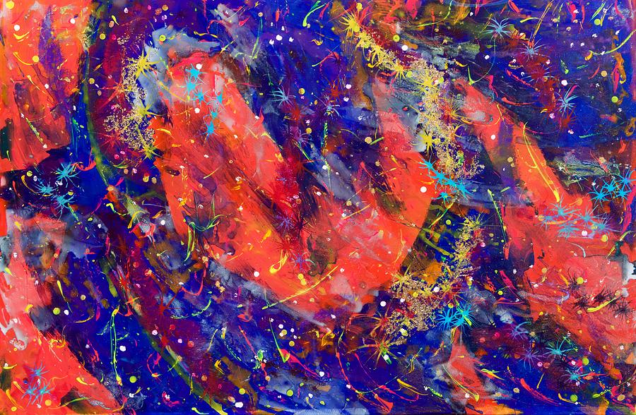 Abstract Painting - Red Space Glitter 15-15 by Patrick OLeary