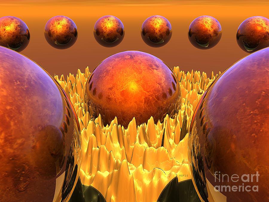Surreal Digital Art - Red Spheres by Phil Perkins