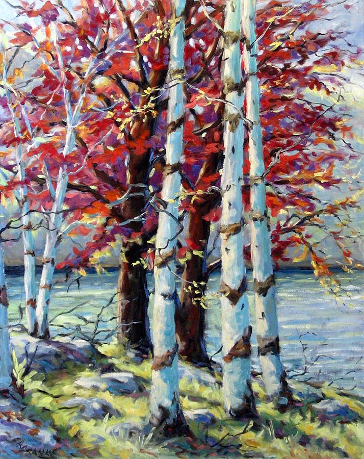 Birches Painting - Red Splash by Richard T Pranke