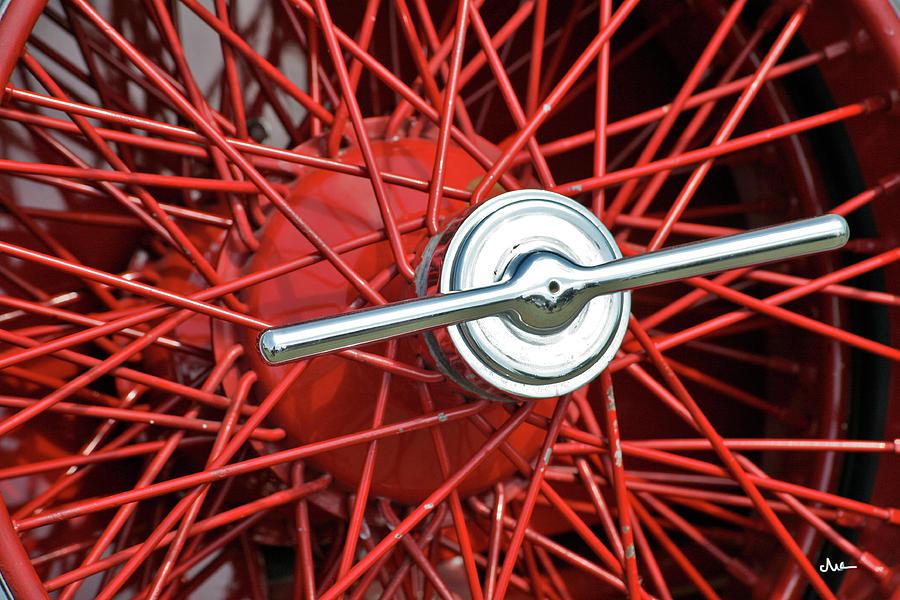 Hub Cap Photograph - Red Spoke Vintage Wheel by Ave Guevara