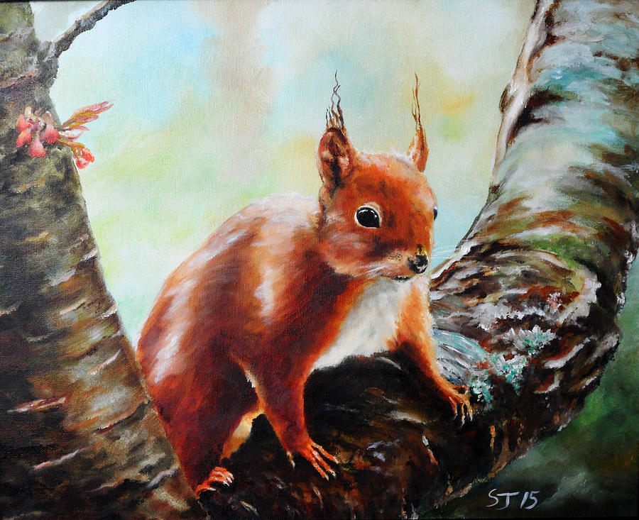 Red Painting - Red Squirrel by Steve James
