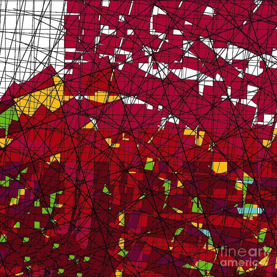 Geometric Digital Art - Red Stained Glass by Cooky Goldblatt