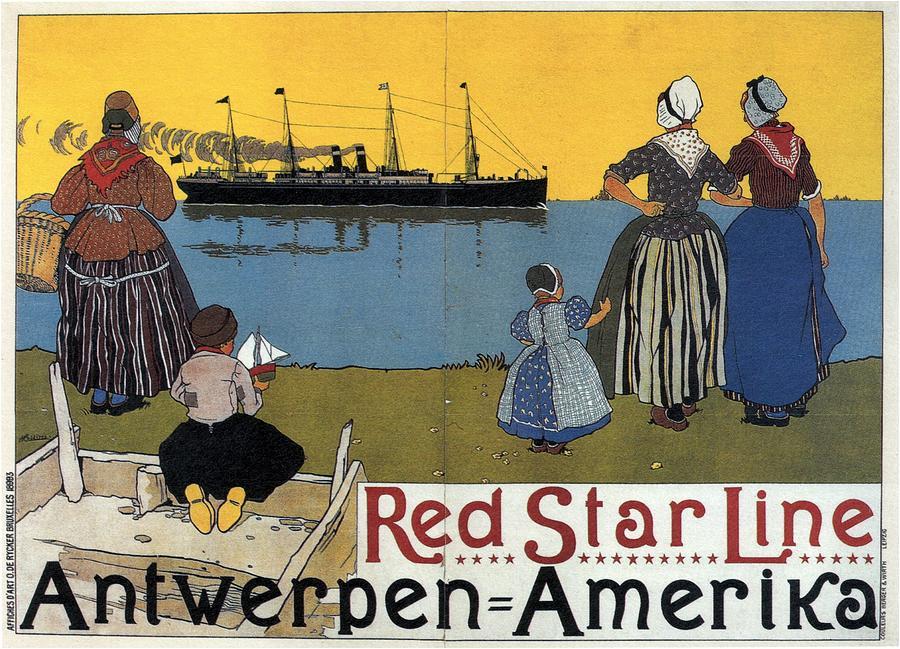 Red Star Line - Antwerpen - Amerika - Retro Travel Poster - Vintage Poster Mixed Media