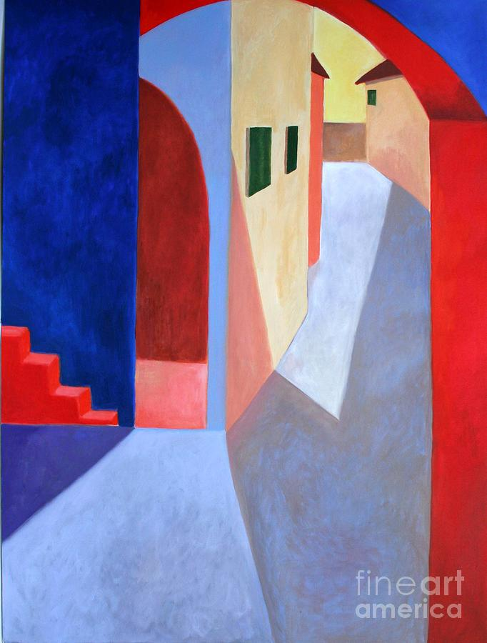 Contemporary Painting - Red Steps by Victoria Sheridan