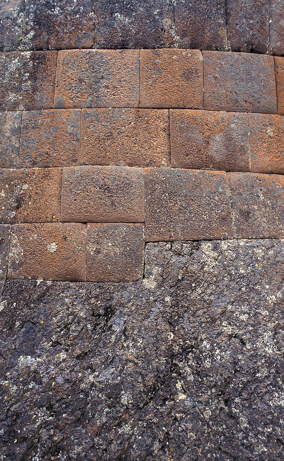 Inca Photograph - Red Stone Bricks by Marcus Best