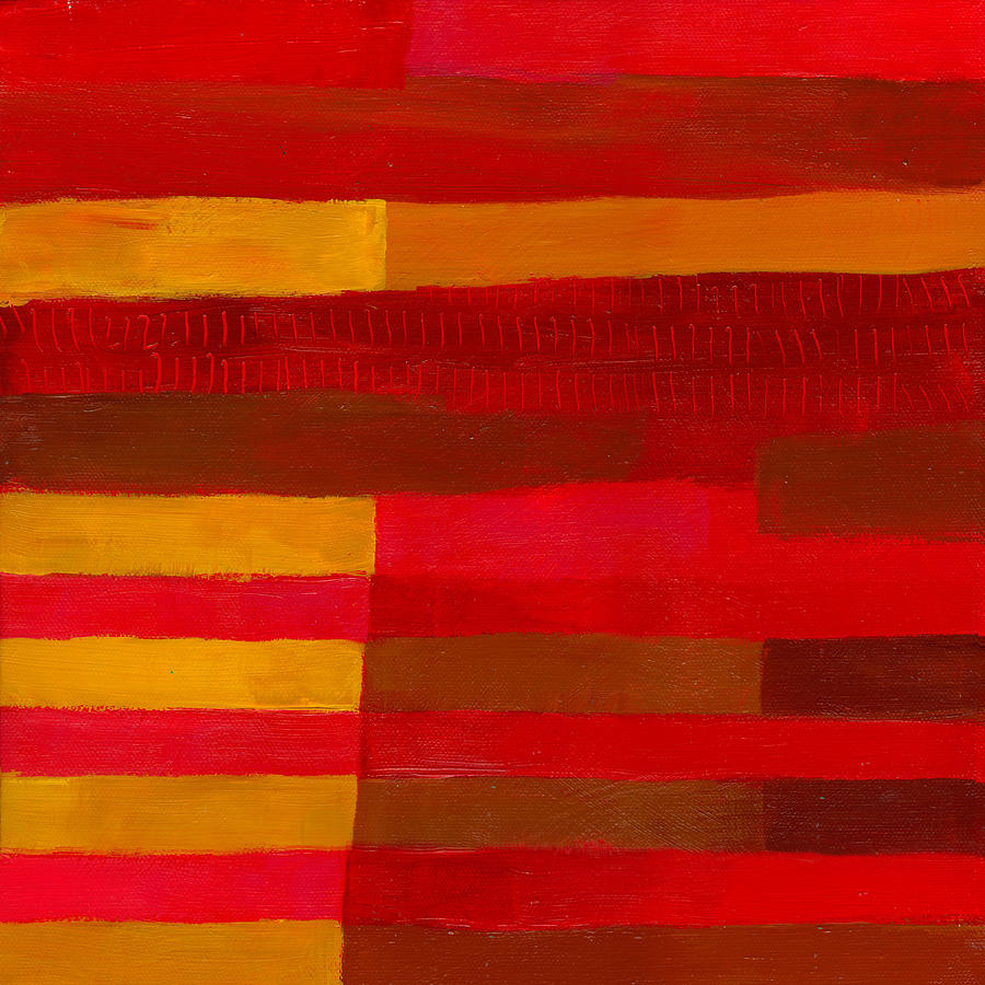 Color Painting - Red Stripes 1 by Jane Davies