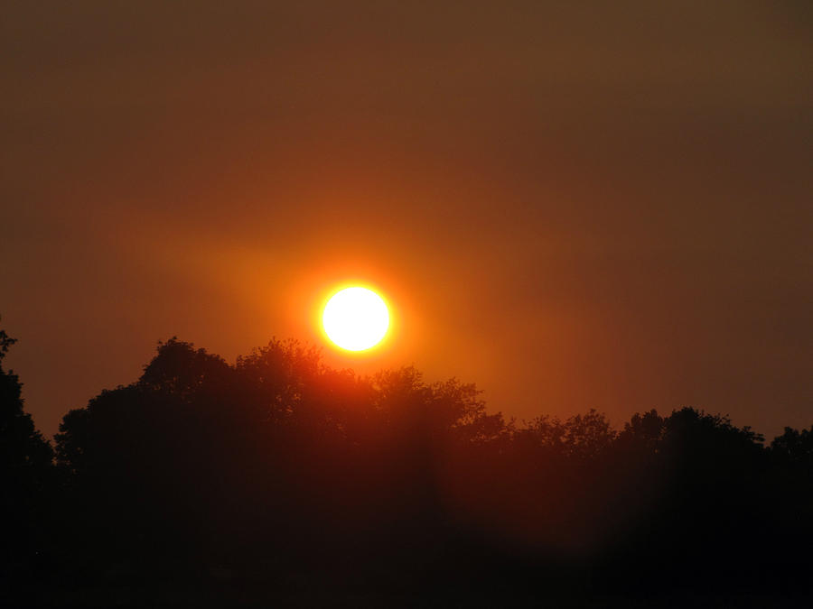 Red Sun Photograph - Red Sun Over Shawnee National Forest by Jessica Tolemy