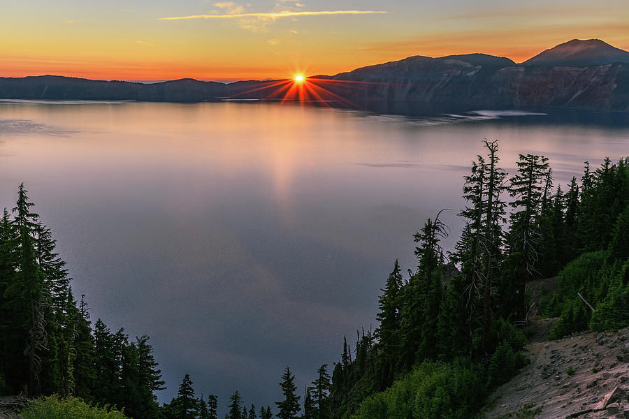 Red Sunrise at Crater Lake by John Hight