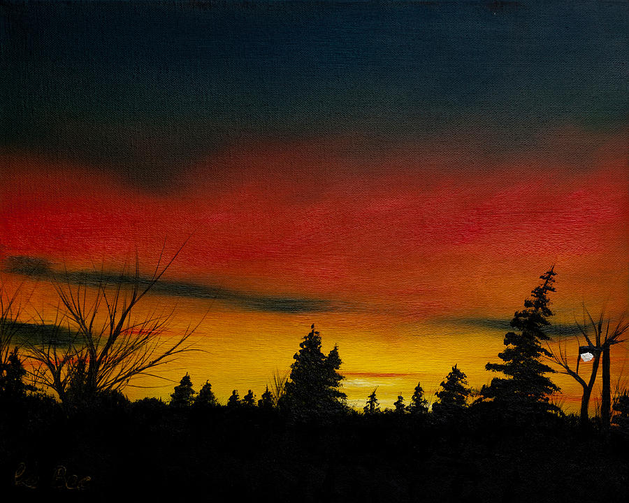 Sunset Painting - Red Sunrise in Parksville by Claude Beaulac