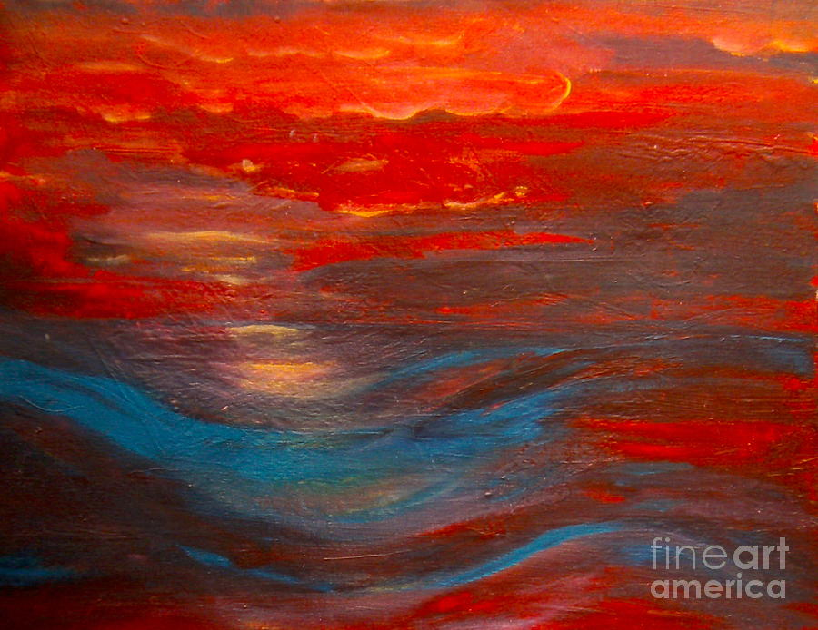 Bright Colors Painting - Red Sunset Abstract  by Nancy Rucker