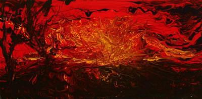 Acrylic Painting - Red Sunset Finger Painting by William Boyer