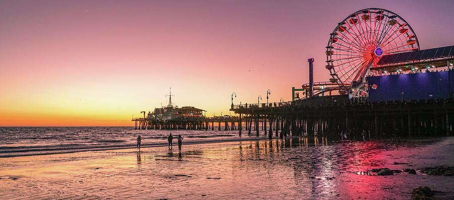 Pier Photograph - Red Sunset In Santa Monica by Michael Hope
