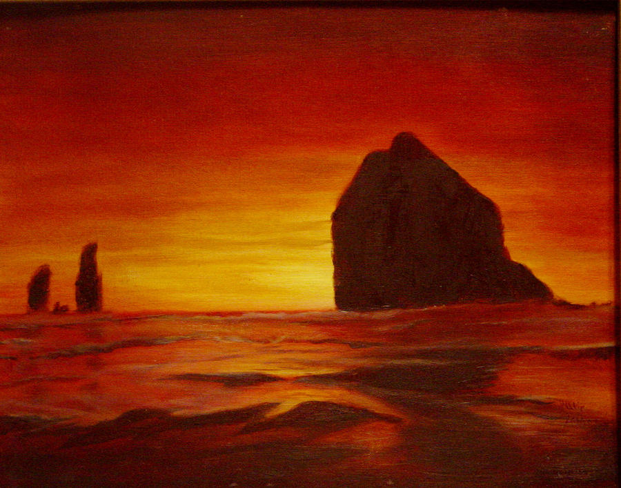 Seascapes Painting - Red Sunset by JLamons Painting