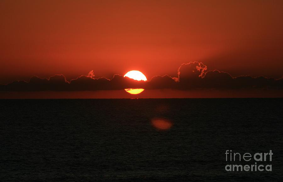 Sunset Photograph - Red Sunset Over The Atlantic by Nadine Rippelmeyer