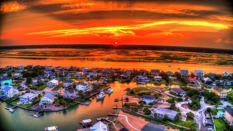 Red Sunset Over The Point by Robbie Bischoff