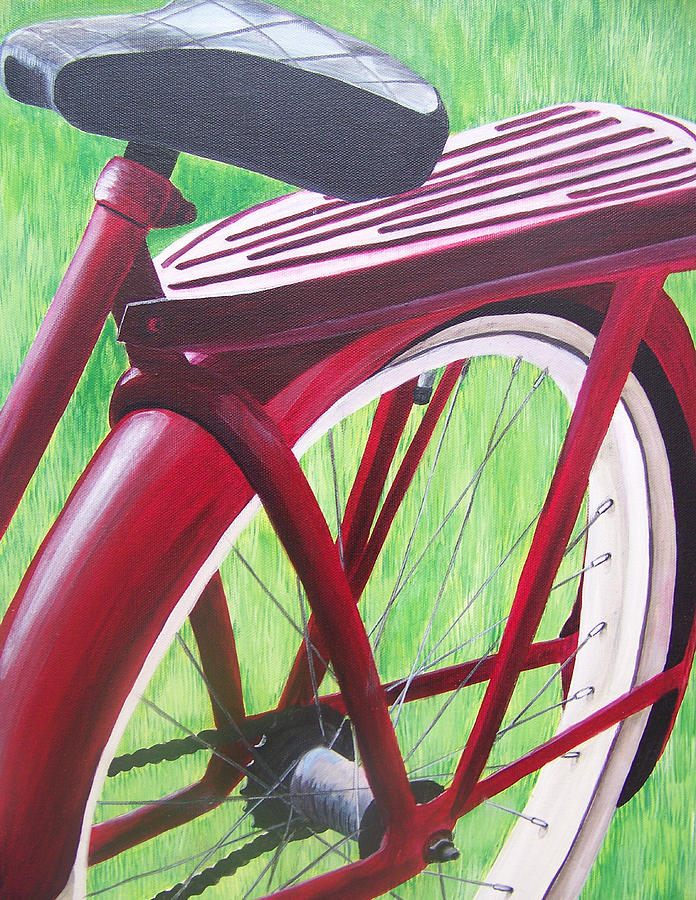 Antique Bicycle Painting - Red Super Cruiser Bicycle by Charlene Cloutier