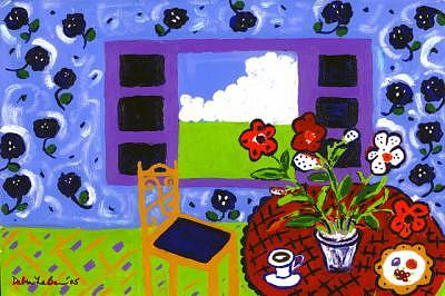 Table Painting - Red Tablecloth by Debra LaBar