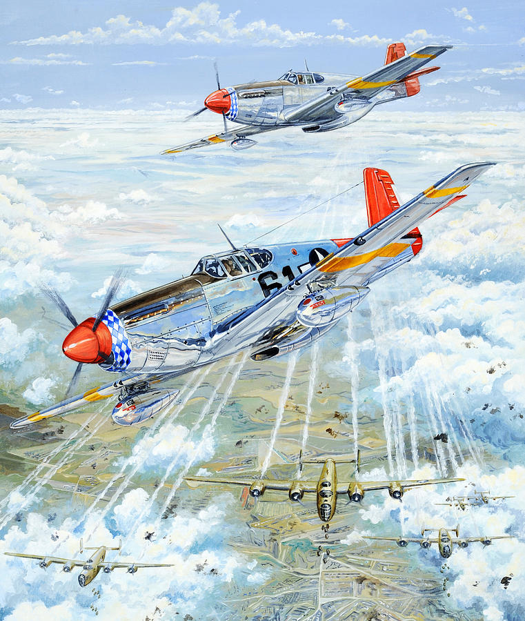 P-51 Painting - Red Tail 61 by Charles Taylor