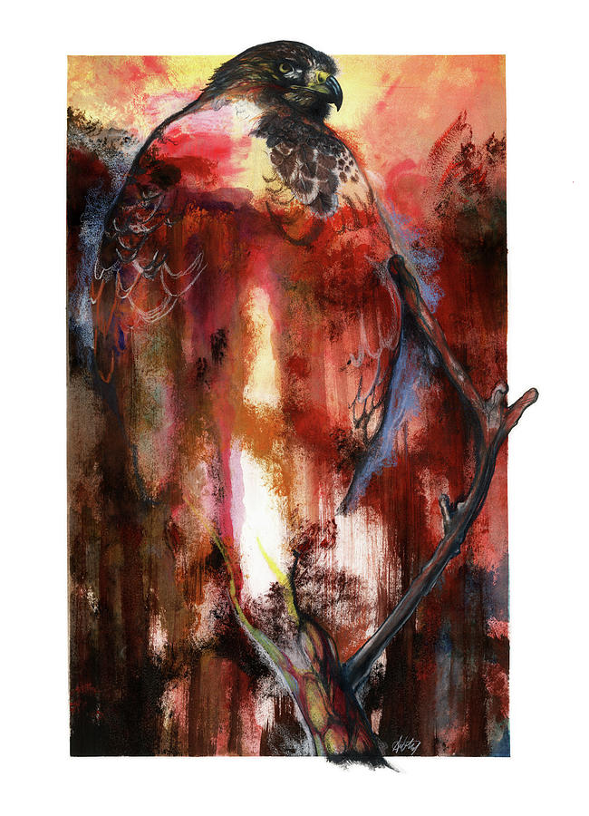 Red Mixed Media - Red Tail by Anthony Burks Sr