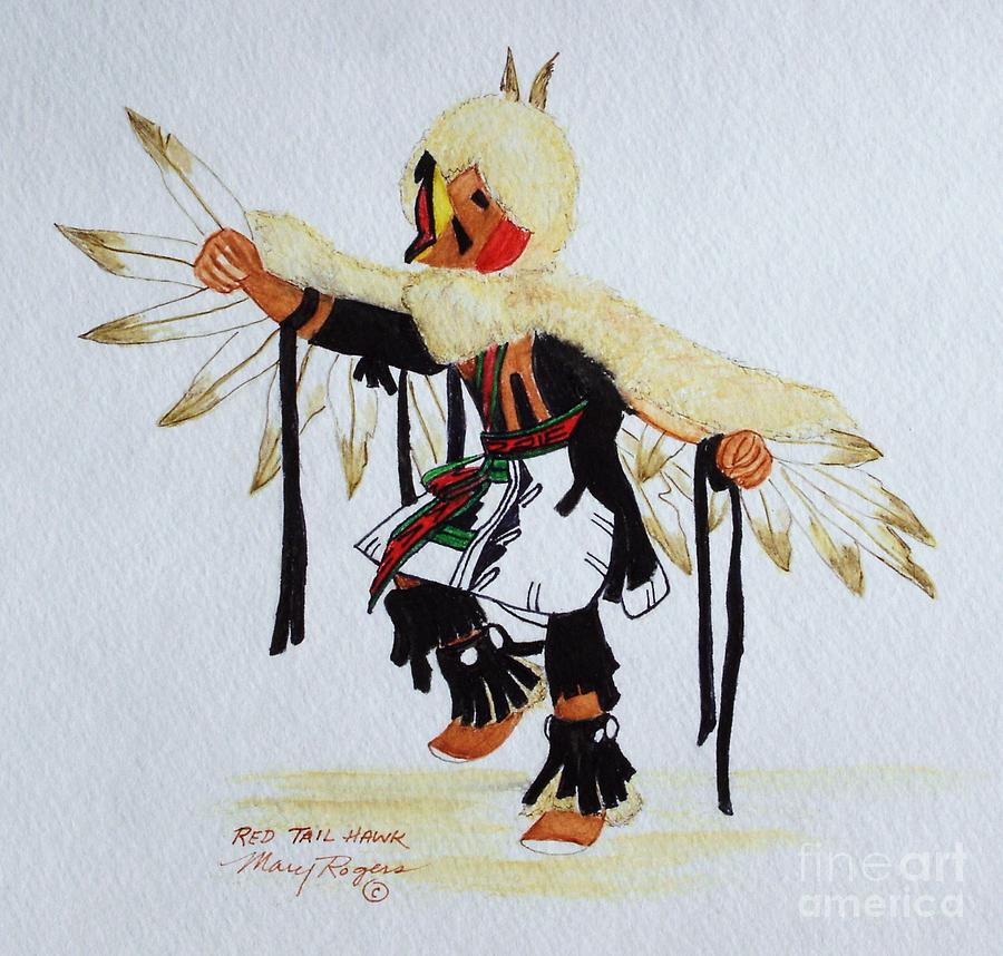 Hawk Mixed Media - Red Tail Hawk by Mary Rogers