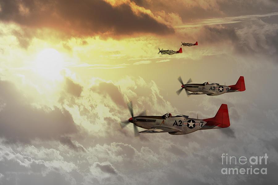 P51 Digital Art - Red Tails by J Biggadike