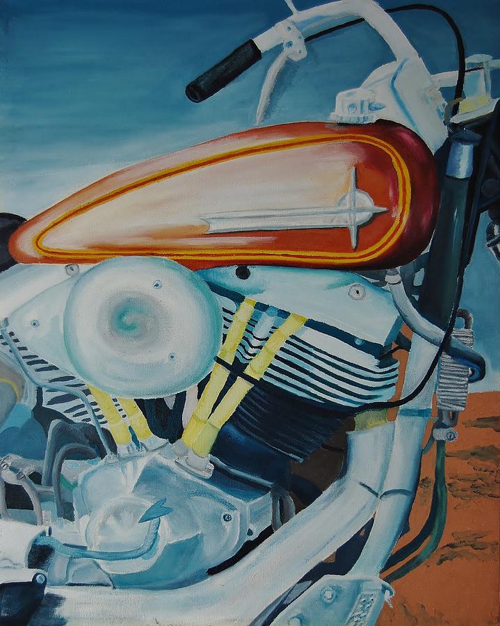 Motorcycle Painting - Red Tank by Charla Van Vlack