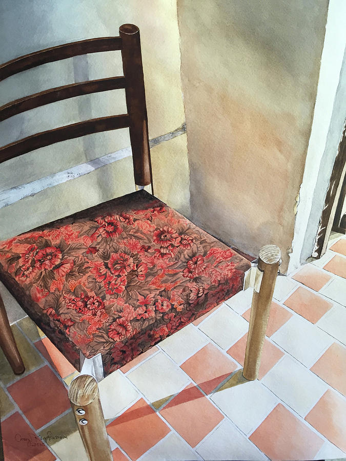 Tapestry Painting   Red Tapestry Chair By Cathy Klopfenstein