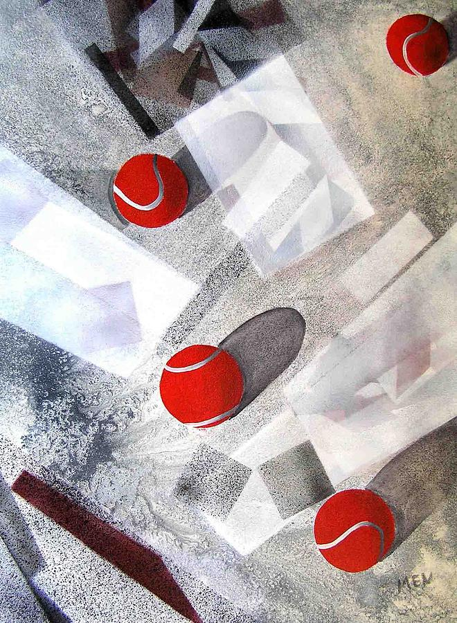 Tennis Balls Painting - Red Tennis Balls On White Sand by Evguenia Men