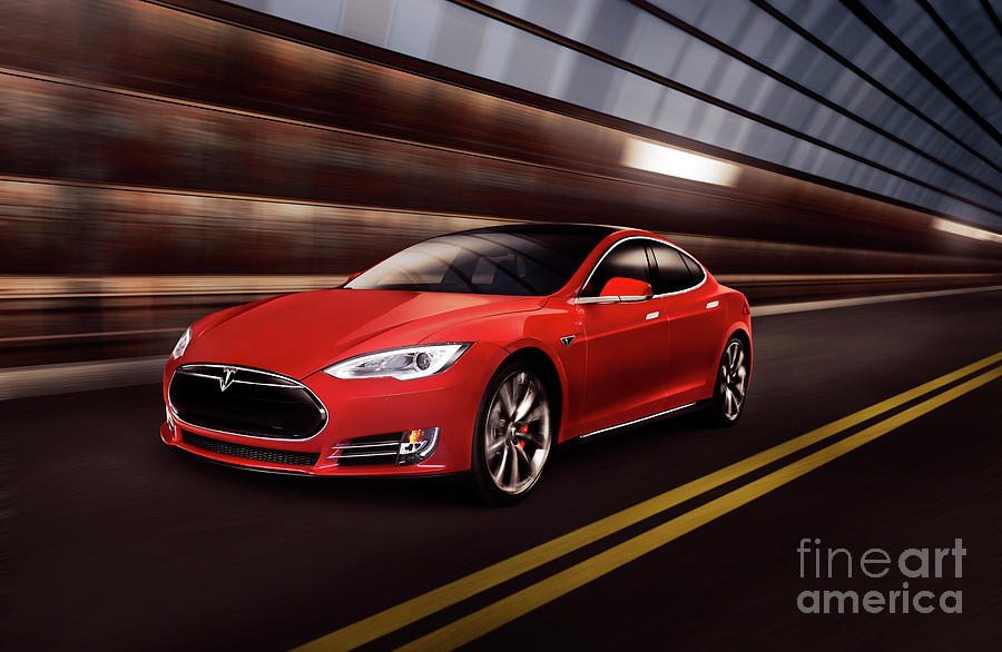 Tesla Photograph - Red Tesla Model S Red Luxury Electric Car Speeding In A Tunnel by Maxim Images Prints