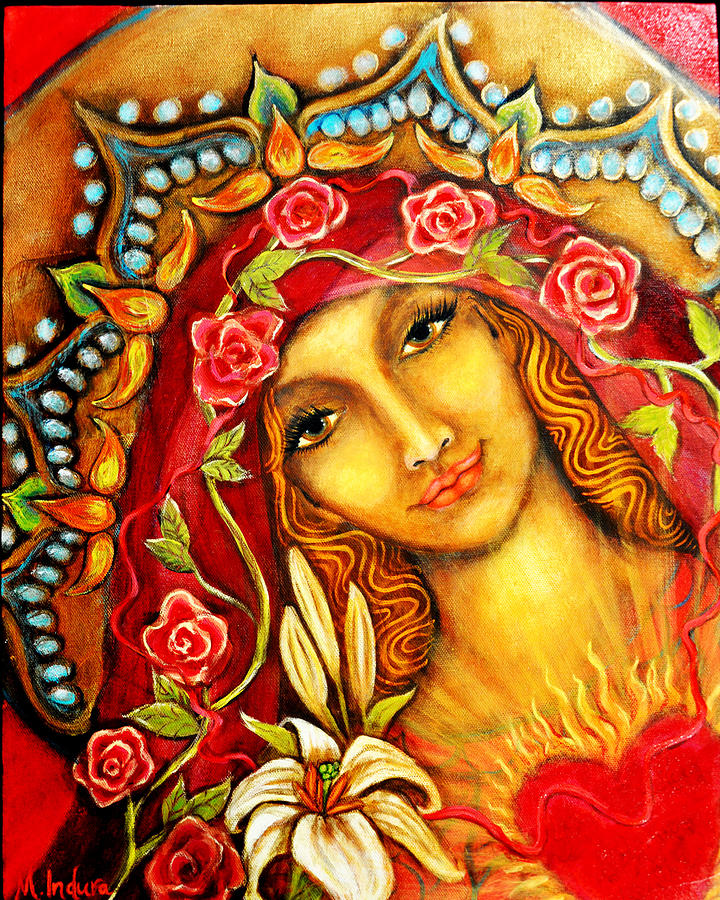 Red Thread Madonna Painting by Molly Indura
