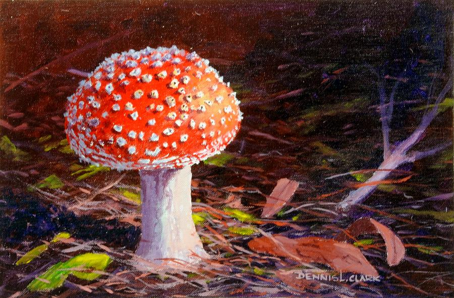 Toadstool Painting - Red Toadstool by Dennis Clark