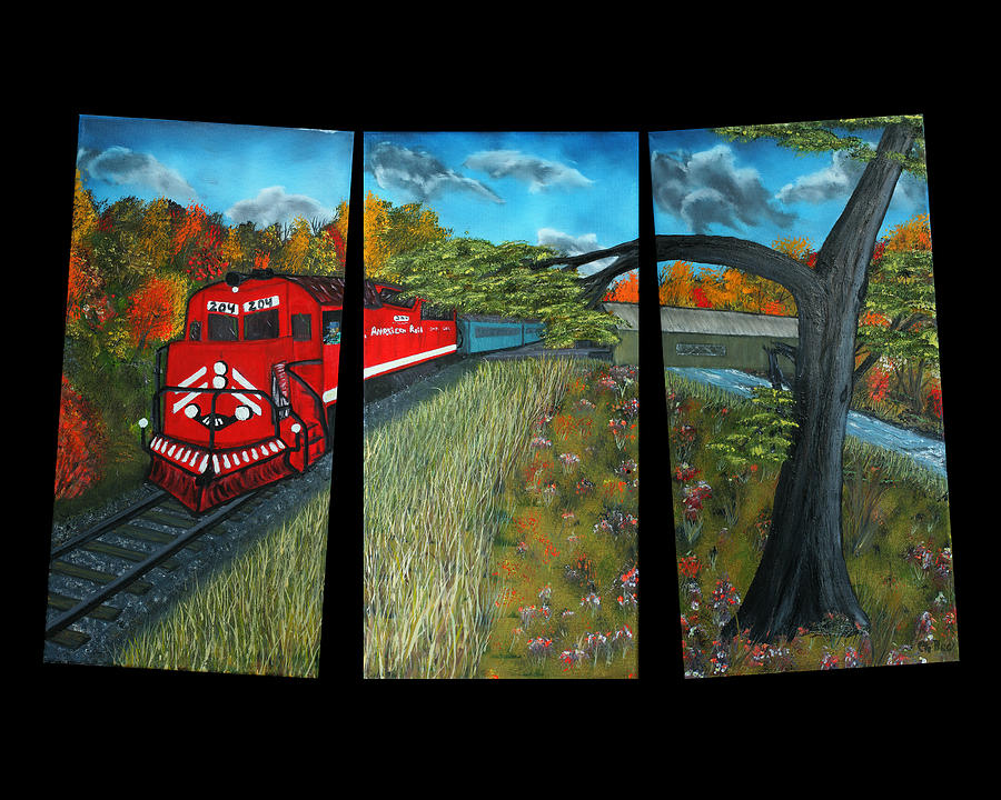 Red Train Painting - Red Train Passage Through The Rocky Mountains by Claude Beaulac