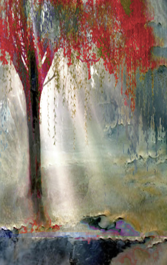 Red Tree 1  Painting by Todd Krasovetz