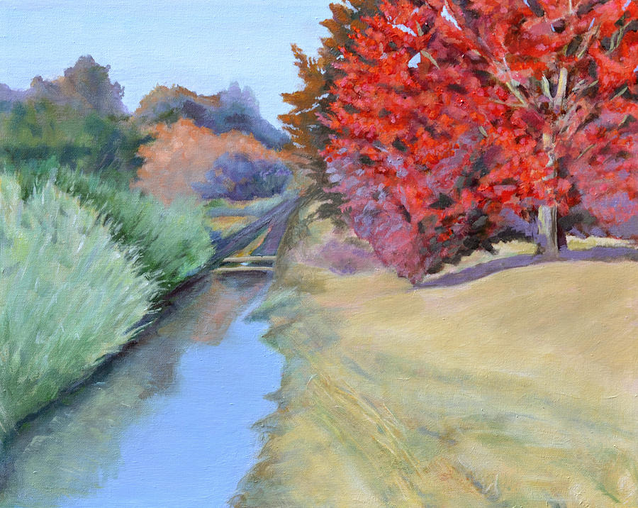 Landscape Painting - Red Tree And River by Mary Chant