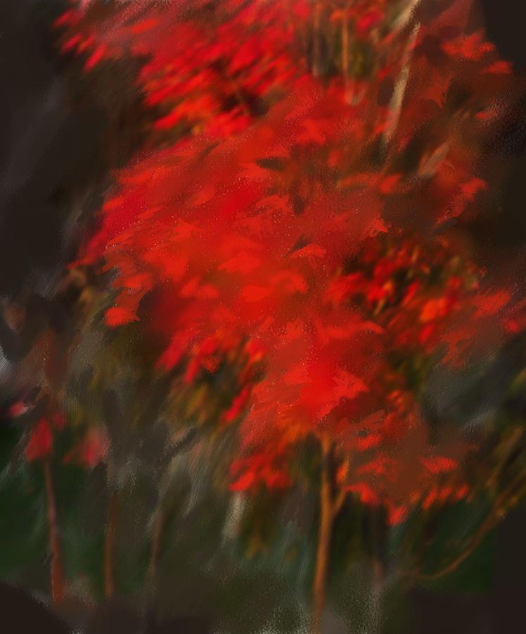 Tree Digital Art - Red Tree by Claire Whitehead
