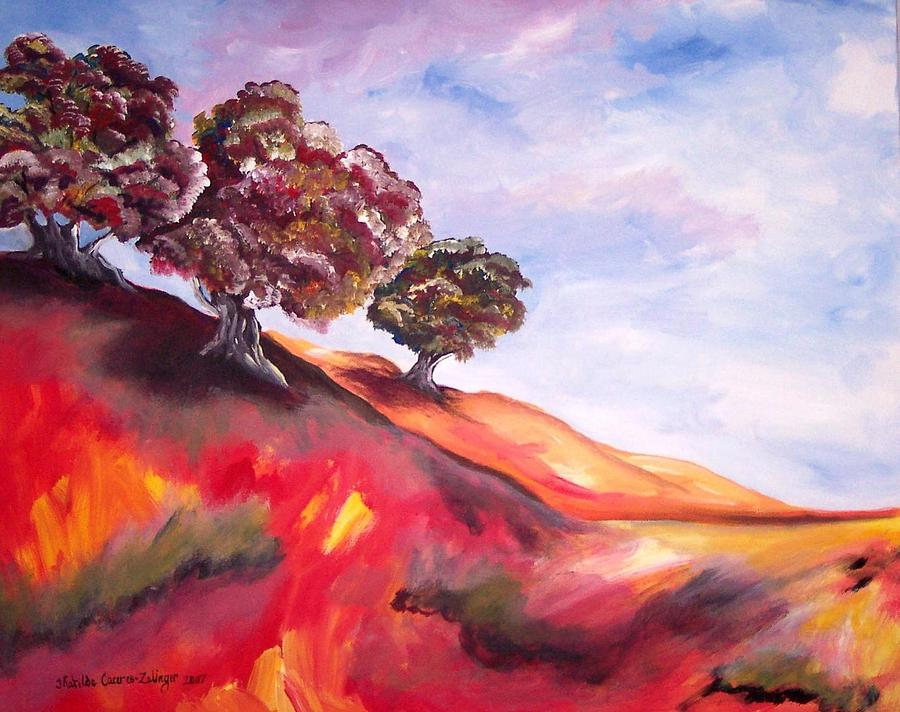 Landscape Painting - Red Tree Hill by Matilde Caceres-Zelinger