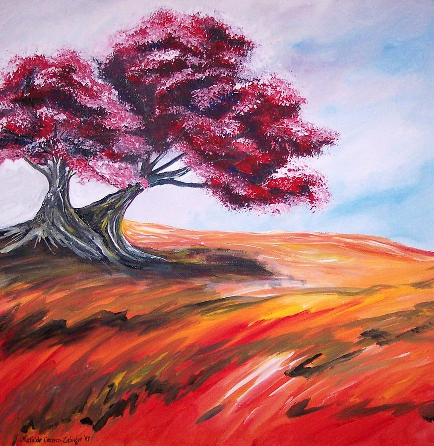 Landscape Painting - Red Tree No. 3 by Matilde Caceres-Zelinger