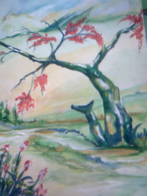 Landscape Painting - Red Tree by Seema Sharma