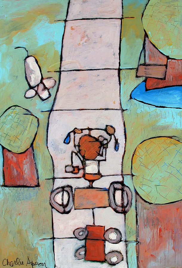Tricycle Painting - Red Trike by Charlie Spear