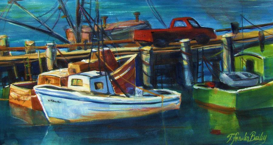 Morro Rock Painting - Red Truck On Old Morro Bay Pier by Therese Fowler-Bailey