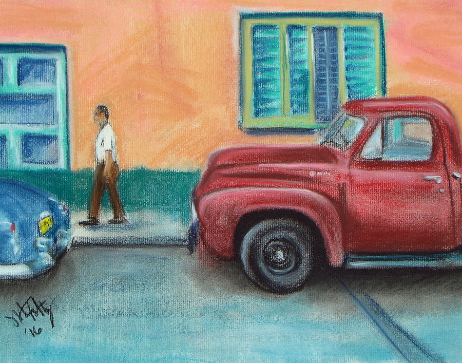 Red Truck Parked by Michael Foltz