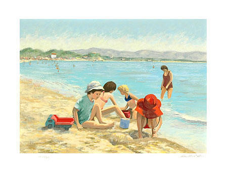 Beach Painting - Red Truck by Title Christian