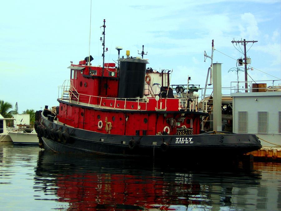 Seaside Photograph - Red Tugboat by Christi Willard
