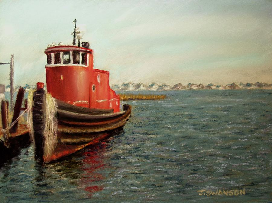 Tug Boat Pastel - Red Tugboat by Joan Swanson