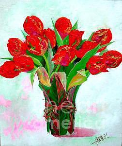 Flower Painting - Red Tulip by Bo Li